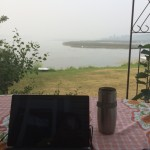 My office on the deck at my lakefront cabin