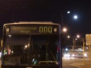 Bus ride back notice the moon eight hand corner above street lights?