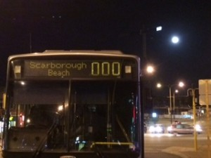 scarbourough beach bus and full moon